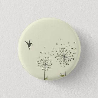 Hummingbird & Dandelion 3 Cm Round Badge