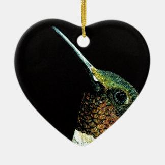 Hummingbird design ceramic heart decoration