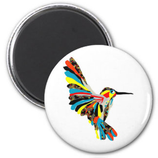 hummingbird drawing 6 cm round magnet