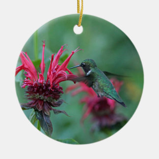 Hummingbird feeding on pink flowers round ceramic decoration