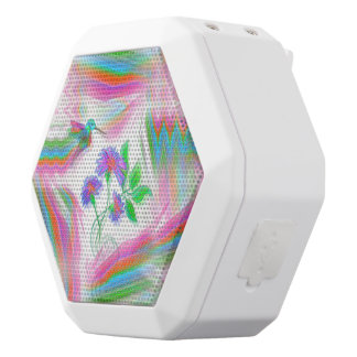 Hummingbird Flight Kaleidoscope White Bluetooth Speaker