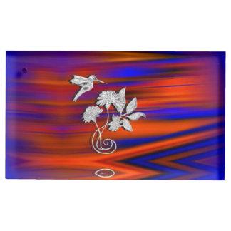 Hummingbird Flight Sunset Blush Table Card Holder