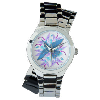 Hummingbird Floral Art Deco Wrist Watches