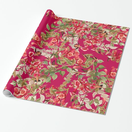 Hummingbird Floral Garden Flowers Wrapping Paper