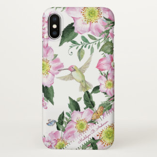 Hummingbird Floral Nature Garden Personalized Name iPhone X Case
