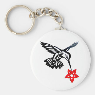 Hummingbird & Flower Edited.jpg Key Ring