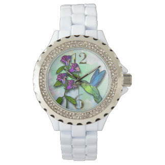hummingbird flower rhinestone watch