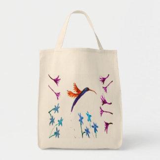 Hummingbird flowers Art Grocery Tote Bag