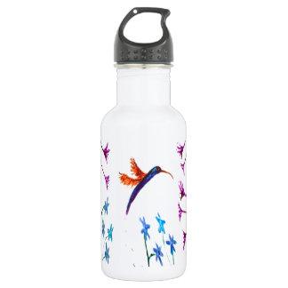 Hummingbird flowers floral bird art 532 ml water bottle
