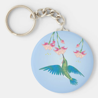 HUMMINGBIRD & FUCHSIA by SHARON SHARPE Basic Round Button Key Ring
