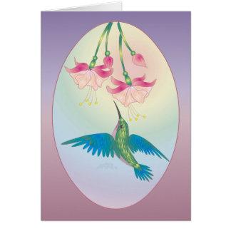 HUMMINGBIRD & FUCHSIA by SHARON SHARPE Card