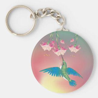 HUMMINGBIRD & FUCHSIA by SHARON SHARPE Keychains