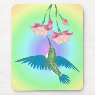 HUMMINGBIRD & FUCHSIA by SHARON SHARPE Mouse Mat