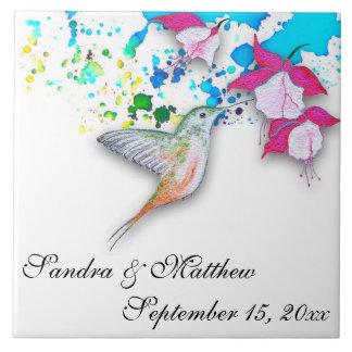 Hummingbird & Fuchsia Wedding Trivet/Coaster Tile