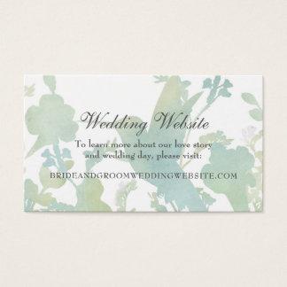 Hummingbird Garden Watercolor Wedding Website Business Card