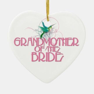 Hummingbird Grandmother of the Bride Ceramic Heart Decoration