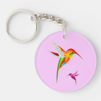 Hummingbird Haven Round Key Chain