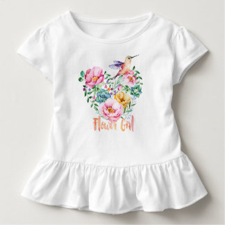 Hummingbird Heart Bouquet Flower Girl Toddler T-Shirt