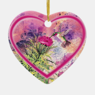 Hummingbird Heart Ornament