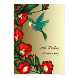 Hummingbird Hibiscus Gold 50th Wedding Anniversary Custom Announcement