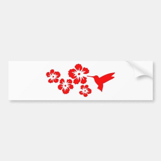 hummingbird hibiscus red bumper sticker