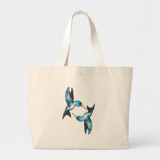 Hummingbird in Blue Jumbo Tote Bag