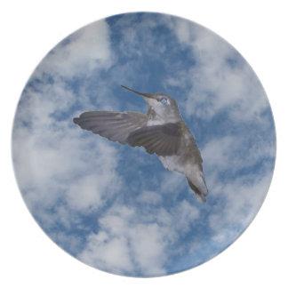 Hummingbird in Blue Sky Dinner Plate