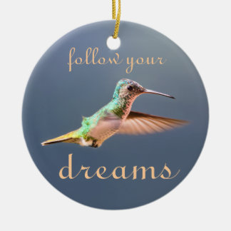 Hummingbird in Flight Follow your Dreams Ornament