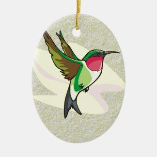 Hummingbird in Flight on Textured Background Ornament