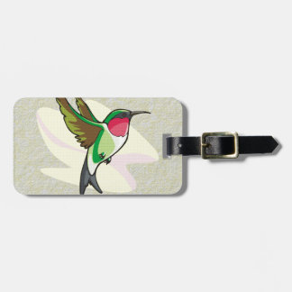 Hummingbird in Flight on Textured Background Luggage Tag