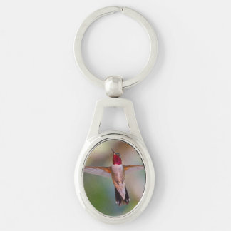hummingbird in flight Silver-Colored oval key ring