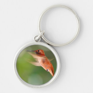 Hummingbird in Flight Silver-Colored Round Key Ring