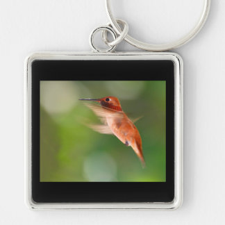 Hummingbird in Flight Silver-Colored Square Key Ring