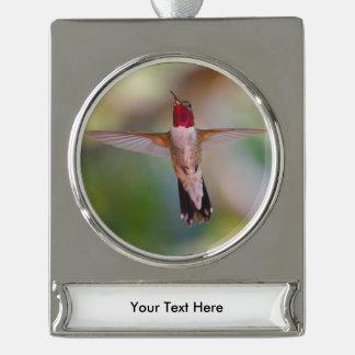 hummingbird in flight silver plated banner ornament