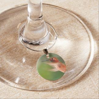 Hummingbird in Flight Wine Glass Charm