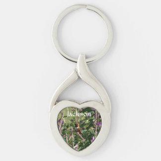 Hummingbird in Purple Flowers Key Chain