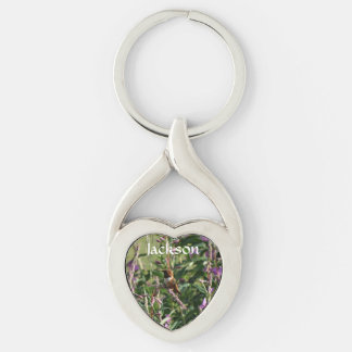 Hummingbird in Purple Flowers Silver-Colored Twisted Heart Key Ring