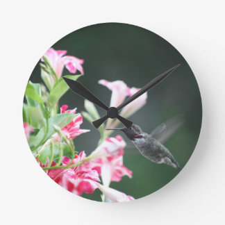 Hummingbird in red and white flowers round clock