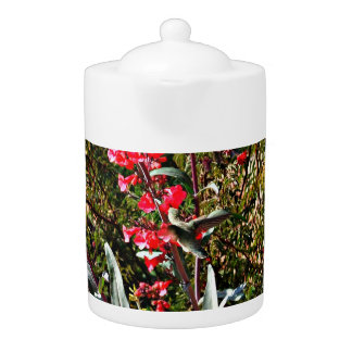 Hummingbird in Red Tree Blooms Tea Pot
