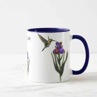 Hummingbird Iris Flower Mug