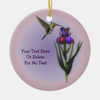 Hummingbird Iris Flower Personalized Ornament