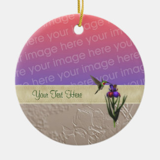 Hummingbird Iris Flower Your Photo Ornament