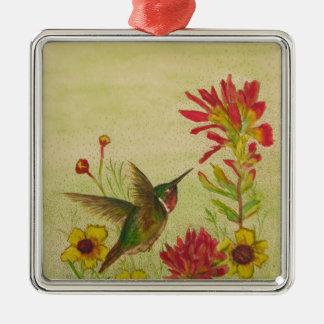 hummingbird.jpg Silver-Colored square decoration