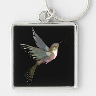 Hummingbird Silver-Colored Square Key Ring