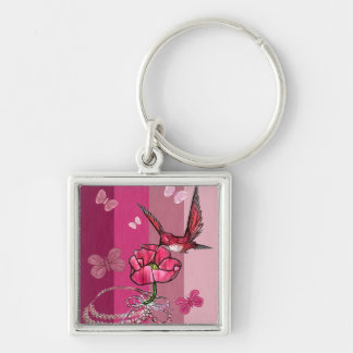 hummingbird Silver-Colored square key ring