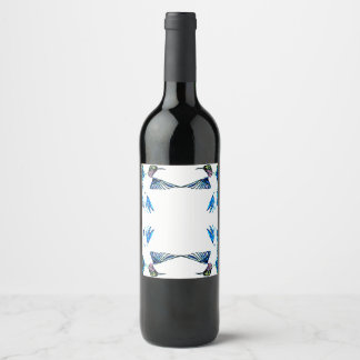 Hummingbird Mandala Border Wine Label