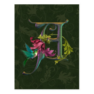 Hummingbird Monogram A Postcard