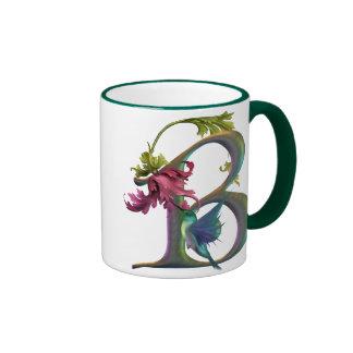 Hummingbird Monogram B Ringer Coffee Mug