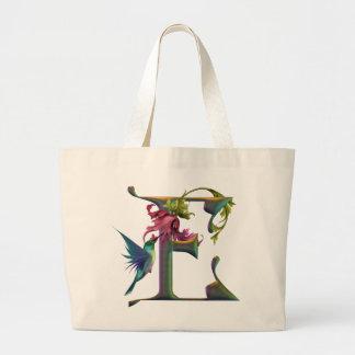 Hummingbird Monogram E Large Tote Bag