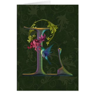 Hummingbird Monogram L Greeting Card